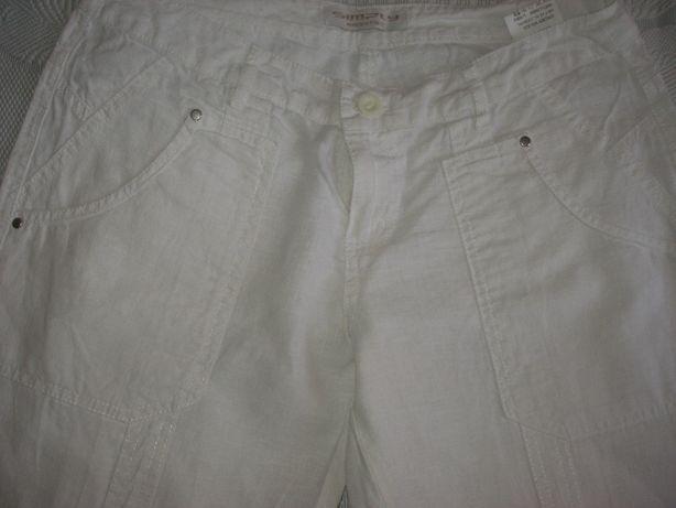 Льняные белые брюки Simply, разм. 44-46.