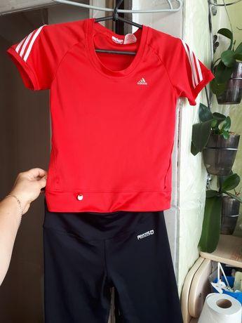 Комплект XS -S спорт бег вело фитнес велосипедки футболка Adidas