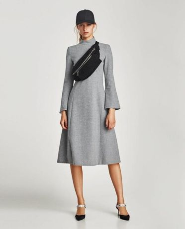 Серое платье из шерсти длины миди zara