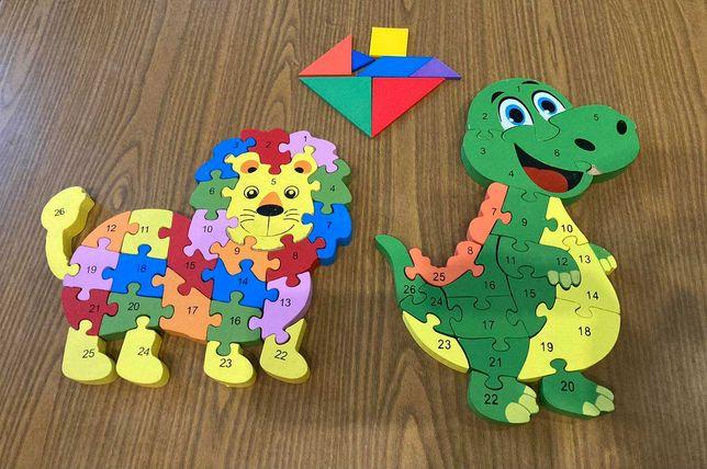 Пазлы деревянные  (разноцветные блоки с цифрами и английскими буквами)