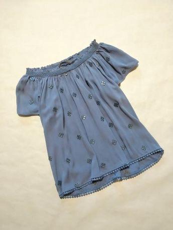 Блуза голубая майка топ с открытыми плечами под джинс George хлопок