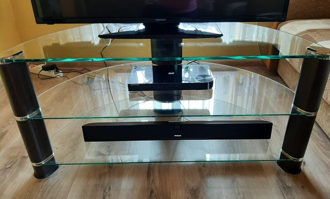 Stolik narożny szklany pod TV - Techlink