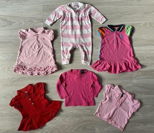 POLO RALPH LAUREN zestaw 6 SZT bluzka rampers sukienka  74
