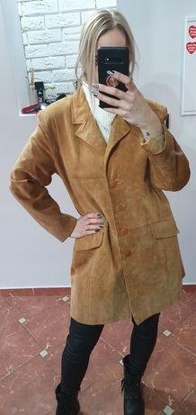 Camelowy zamszowy płaszcz Vintage skóra naturalna