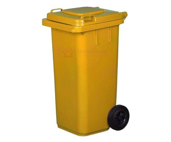 POJEMNIK na odpady plastikowe KOSZ na śmieci 120L Śmietnik ŻÓŁTY
