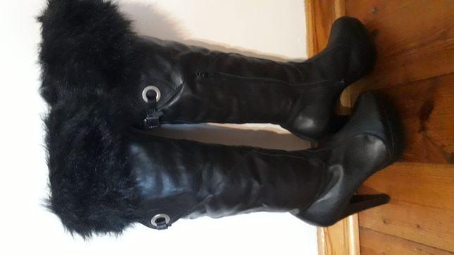 Wysokie buty kozaki skóra naturalna 38