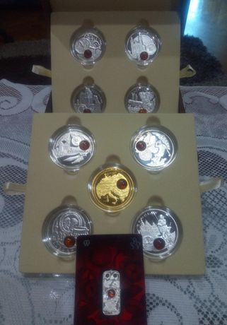 Monety Szlak Bursztynowy- Srebrny Zestaw 10x1 dollar