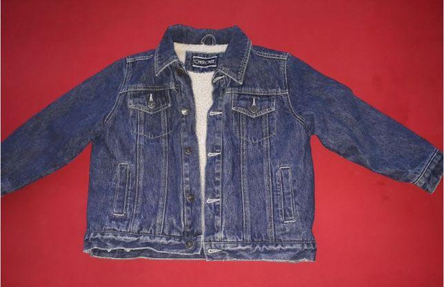 jeansowa kurtka CHEROKEE na baranku 128 cm