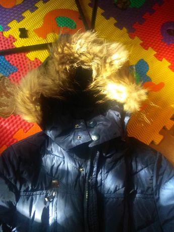 Куртка, парка, удлиненная, мех натуральный рост 146 см