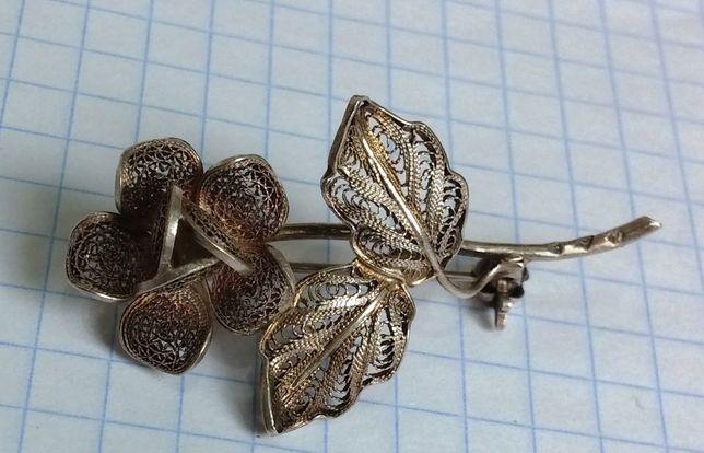 Брошь серебро скань Роза времён СССР