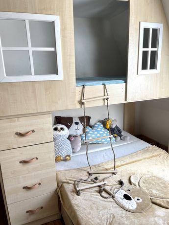 Łóżko piętrowe domek rozkladane solidne drewniane