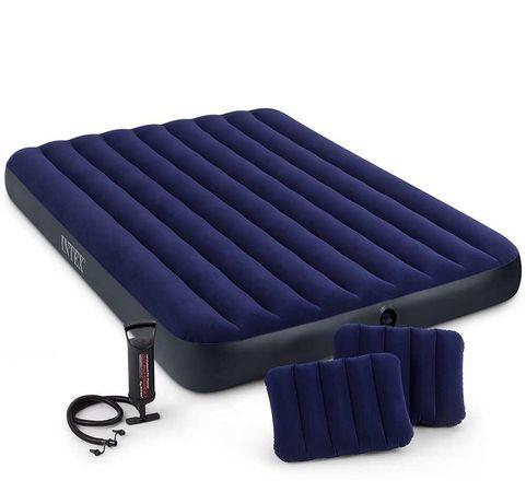 Intex Надувной матрас с подушками и насосом, двухместный 152х203х25см