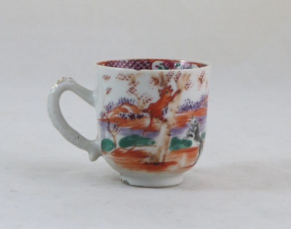 Chávena Porcelana Chinesa Companhia Índias dec Caça Raposa Sec XVIII