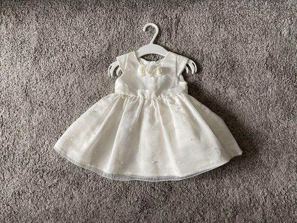 Sukienka dziewczęca ecru z różyczkami i perełkami do Chrztu Świętego