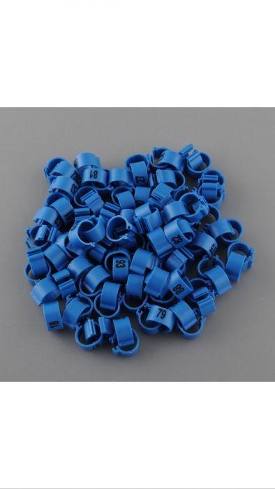 100 anilhas pombos correio numeradas 1-100 azul Canaviais - imagem 1