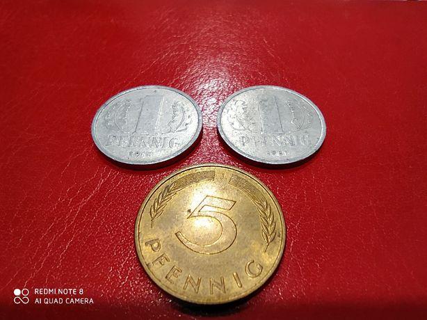 Монеты ГДР (DDR) 5 и 2 пфенинг (pfenning)