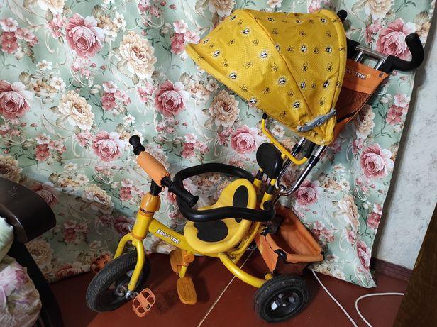 Детский трёхколёсный велосипед коляска с ручкой Azimut самовывоз