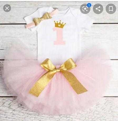 Zestaw spódnica roczek tiul dla dziewczynki