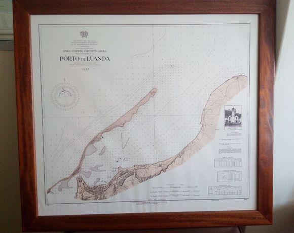 Quadro motivo - Carta Naútica Porto de Luanda, de 1937