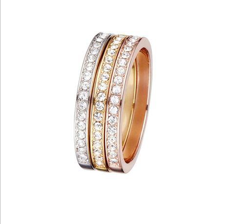 3 anéis com cristais Swarovsky folheados a ouro rosa, amarelo e branco