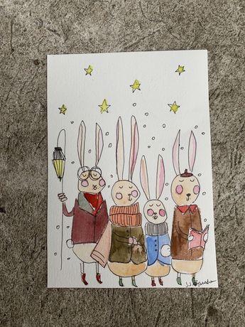 Kartka okolicznościowa świąteczna króliki bunny kolędnicy handmade