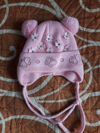 Шапка розовая для девочки