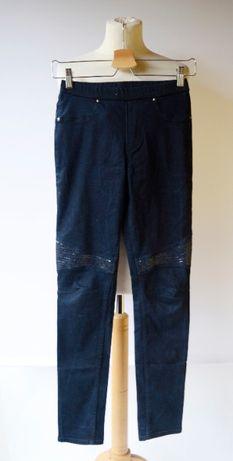 Spodnie Granatowe Tregginsy Rurki Cekiny H&M 164 cm 13 14 lat Jeans