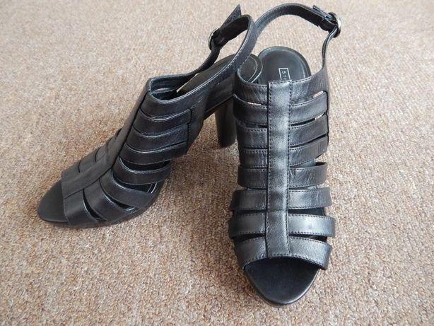 Skórzane sandałki na obcasie jak NOWE!!! roz. 37