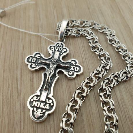 Красивый комплект! Серебряная цепочка с крестиком. Цепь и крест 925.