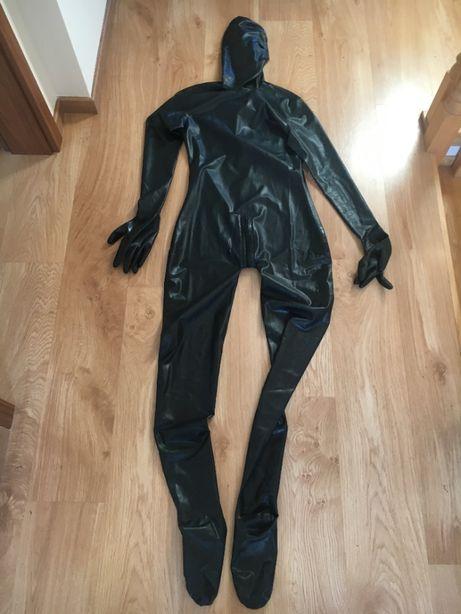 720/ OD REKI Kombinezon catsuit XL maska stopy ręce 3 suwaki zamek tył