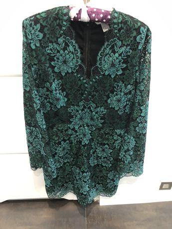 Piękna koronkowa sukienka HM butelkowa zieleń