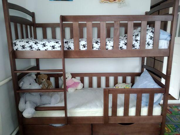Детская двухярусная кровать с дерева, трансформер - кроватка, купить