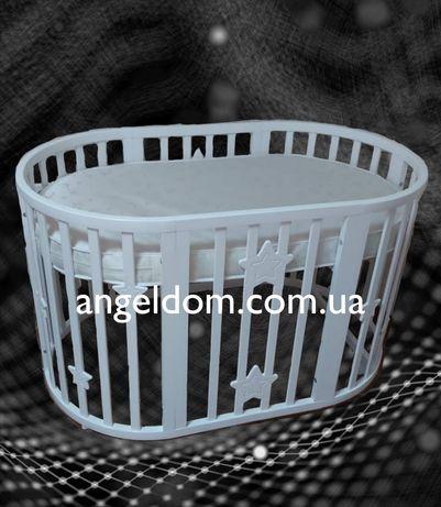 Овальная кроватки 8 в 1 звёздочки+матрас+маятник+колеса.