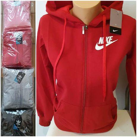Bluzy damskie z logo Adidas Nike na suwak kolory S-XL!!!