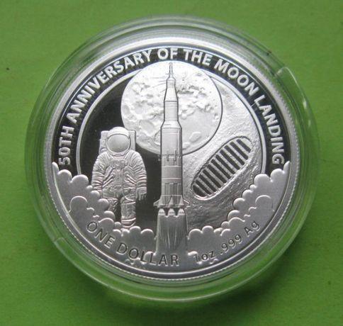 Австралия 1 доллар 2019 50 лет высадке на Луну серебро 999 унция идеал