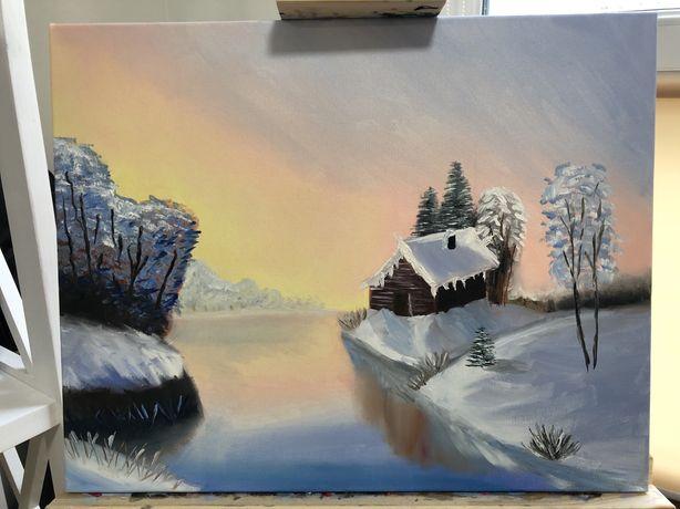 Зимний пейзаж маслом