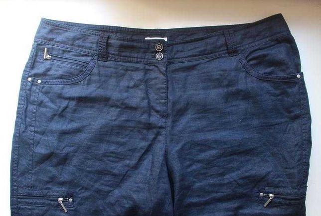 Льняные брюки капри бриджи лен синие bonita с карманами укороченные