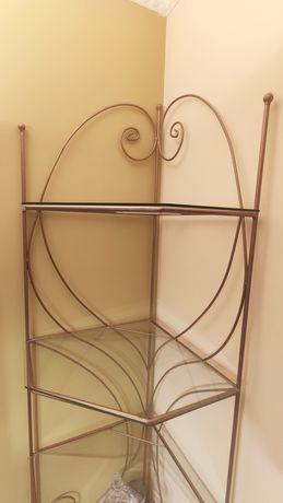 Regał narożny półka szkło metal wys. 180 cm
