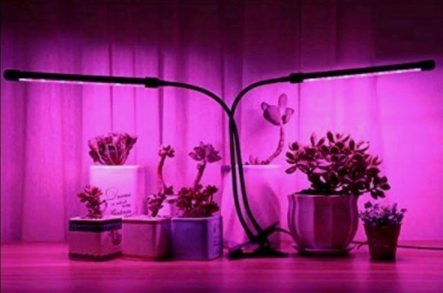 Фитолампа Полный спектр 20w Для подсветки растений С прищепкой 2 ветки