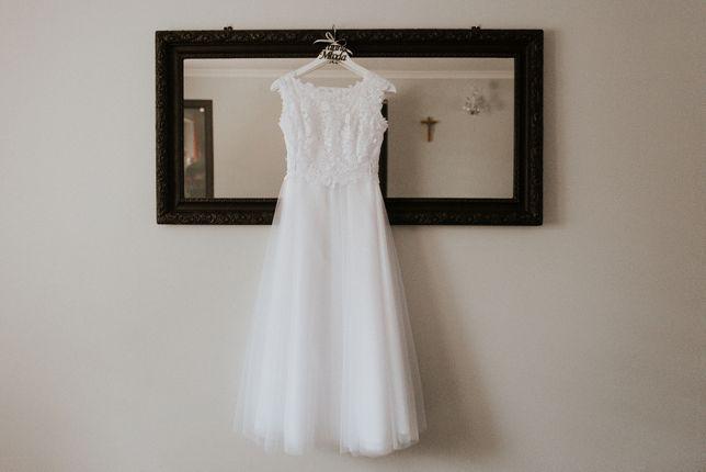 Suknia ślubna zwiewna dwuczęściowa, długa + krótka, Tychy