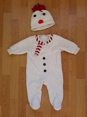 Новогодний, рождественский человечек- снеговик, бодик на 6 мес