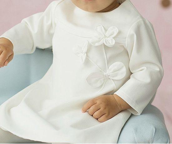 Sukienka chrzest biała prosta do chrztu 74