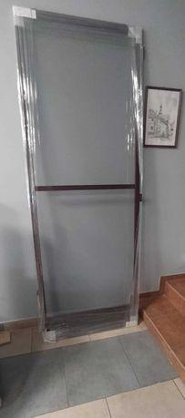 Moskitiera drzwiowa -Mahoń 78,5x217,0 Prawa -nowa- siatka na komary