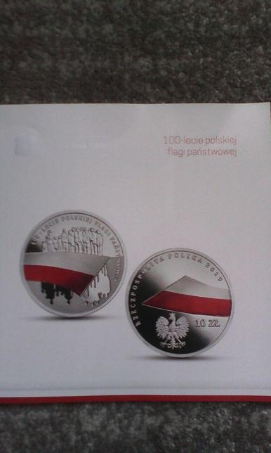 folder do monety 100-lecie polskiej flagi państwowej
