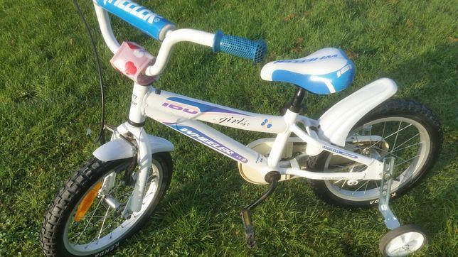 sprzedam bardzo fajny rowerek dla księżniczki 16cala z kółeczkami bocz