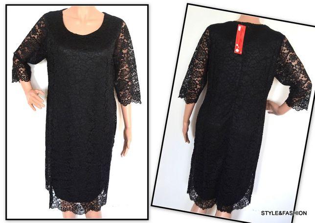 Koronkowa sukienka czarna rozmiar 50