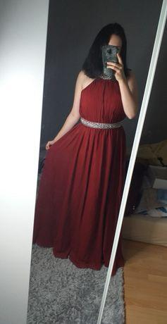 Długa maxi suknia sukienka bordowa czerwona błyszcząca studniówka bal