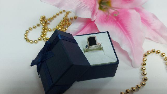 Subtelny srebrny pierścionek z onyksem [925] rozmiar: 12