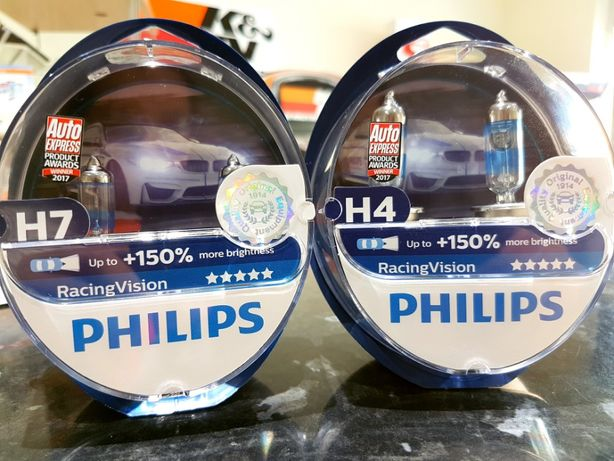 Lâmpadas Philips Halogéneo RacingVision H4, H7 +150%