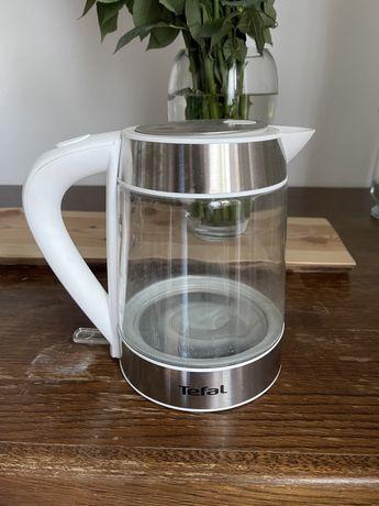 Szklany czajnik tefal bialy srebrny nowy